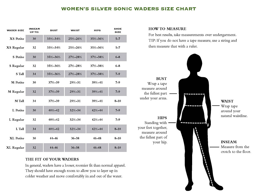 Women S Silver Sonic Convertible In Action Orvis Waders Size Chart