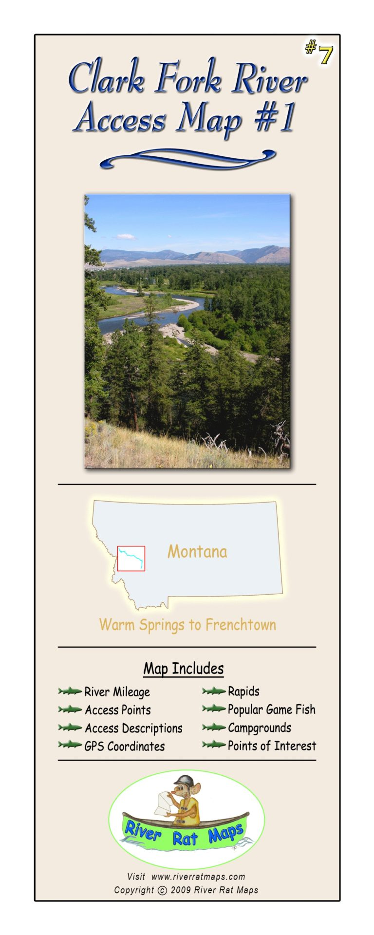 Clark Fork River Map #1 by River Rat Maps