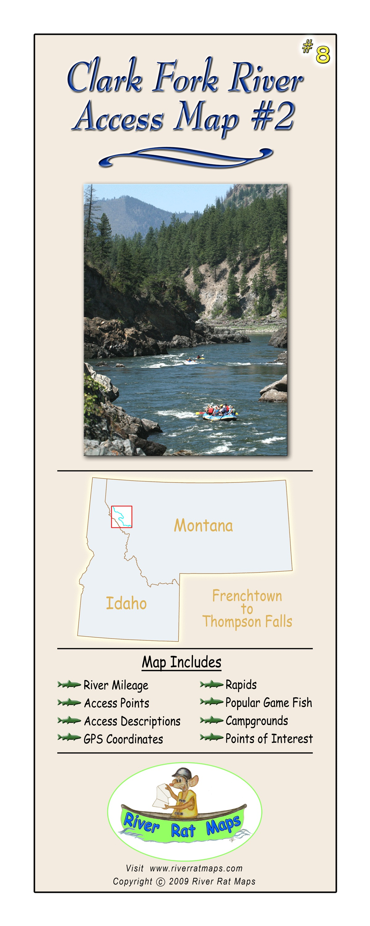 Clark Fork River 11x17 Fly Fishing Map