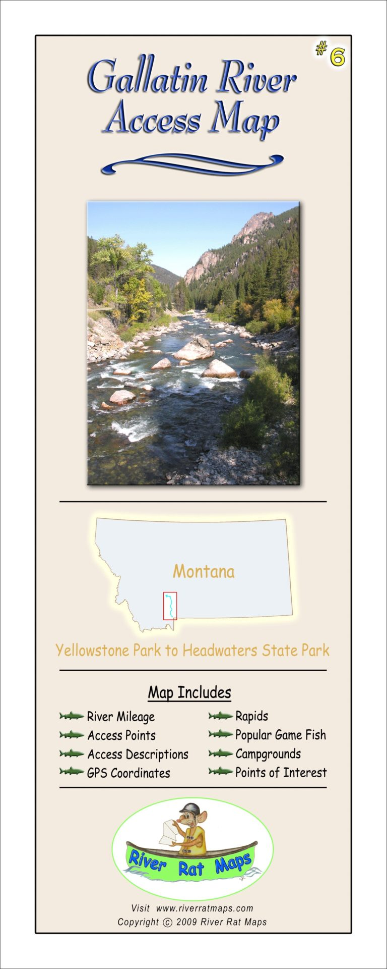 Gallatin River Map by River Rat Maps