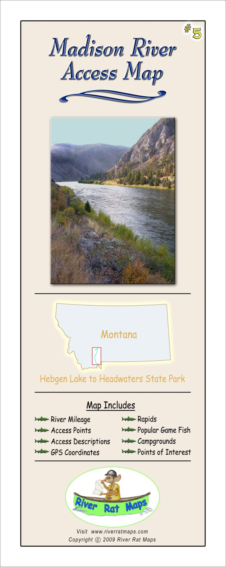 Madison River Map by River Rat Maps