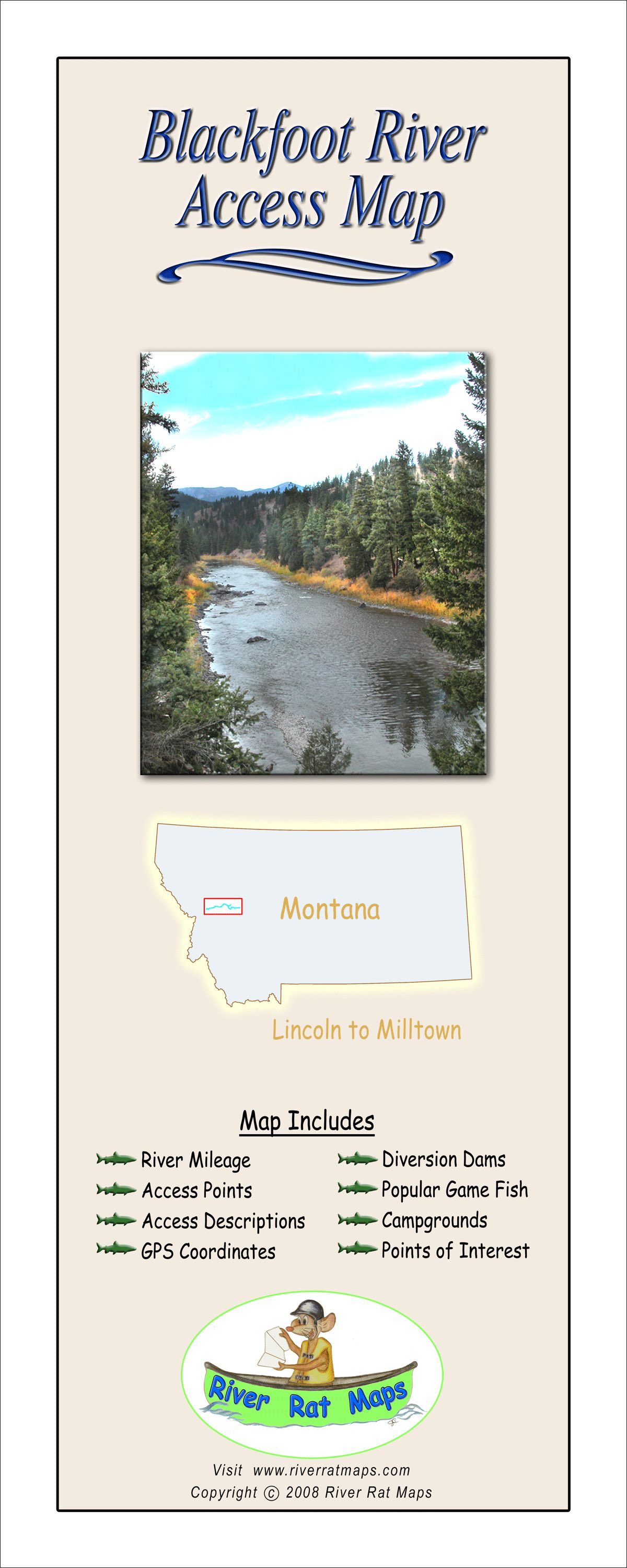 Blackfoot River Map From Lincoln To Milltown By River Rat Maps