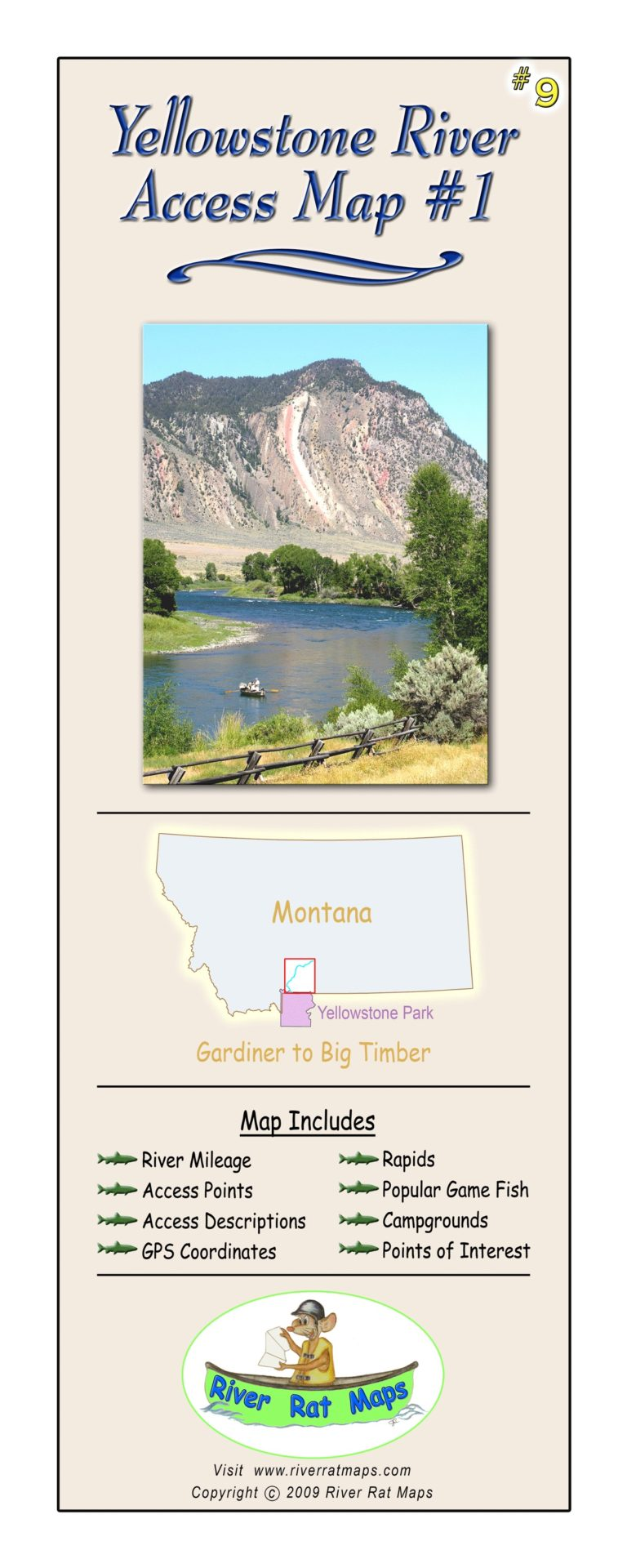 Yellowstone River Map #1 by River Rat Maps